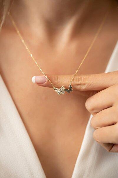 Çift Kelebek Model Altın Kaplama Gümüş Italyan Kolye