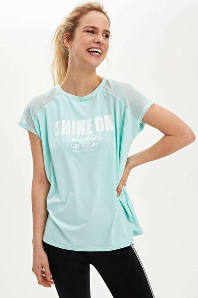 Kadın Turkuaz Baskılı Kısa Kollu T-Shirt N5116AZ.20SP.TR3