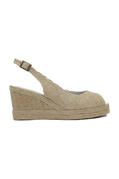 Kadın Keten Ayakkabı Dolgu Topuk Sandalet