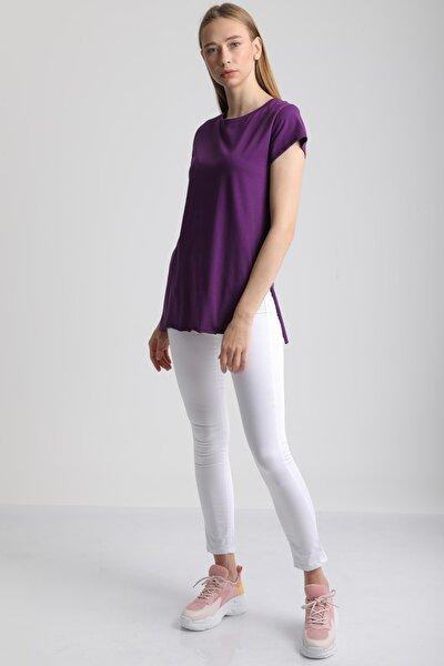 Kadın Mor Bisiklet Yaka Yırtmaçlı Pamuklu T-Shirt Mdt3104