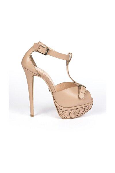 Romance Karamel Deri Platform Topuklu Ayakkabı