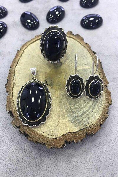 Gümüş Siyah Oniks Taşlı El Işi 925 Ayar Bayan Set