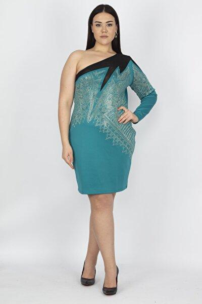 Kadın Yeşil Tek Omuzlu Tül Ve Taş Detaylı Elbise 65N15001
