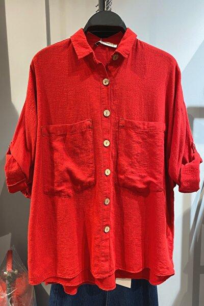Kadın Kırmızı Ahşap Düğmeli Pamuk Keten Gömlek %65 Pamuk %35 Keten
