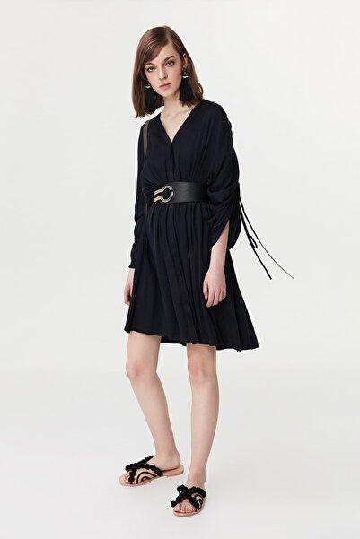 Kadın Koyu Lacivert Ayarlanabilir Kol Gömlek Elbise IS1190002248069