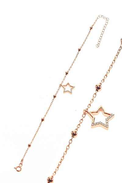 Kadın Gümüş Yıldız Ve Toplu Zincir Bileklik SGTL8850