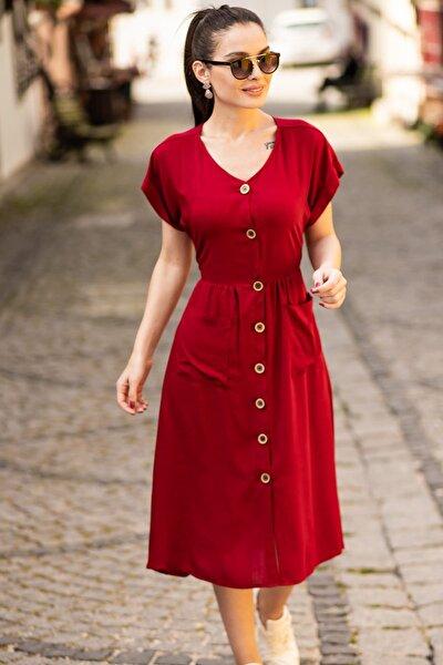 Kadın Bordo Cepli Önü Düğmeli Elbise ARM-18Y001138