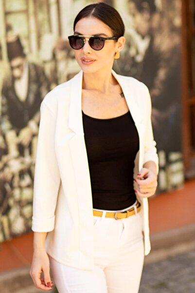Kadın Beyaz Duble Kol Ceket ARM-18Y001173