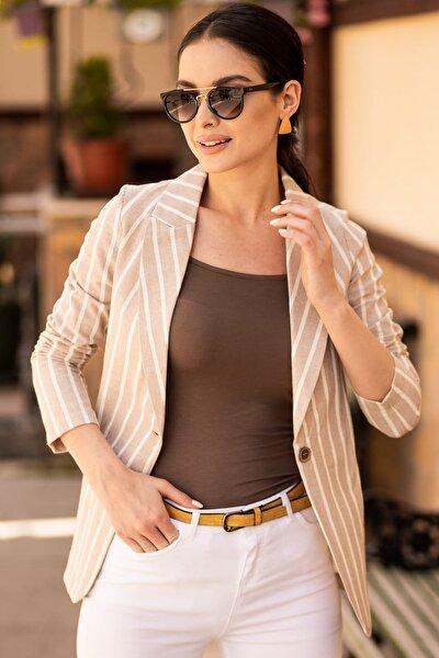 Kadın Bej Keten Tek Düğmeli Kalın Çizgili Ceket ARM-19Y001079