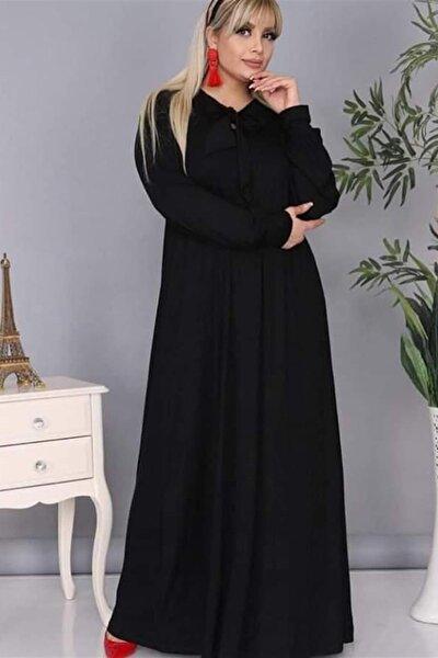Kadın Siyah Yaka Detaylı Viskon Elbise TE0019