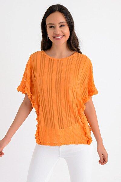 Kadın Turuncu Çizgi Detaylı Yarasa Kol Yanları Fırfırlı Bluz HN1476