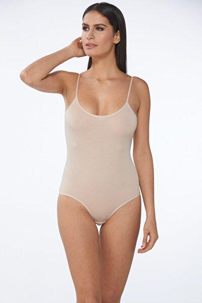 Kadın Ten İnce Askılı Çıtçıtlı Body 6'lı Paket