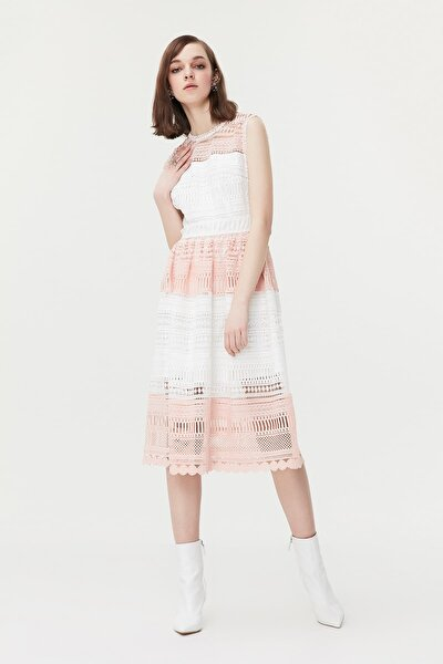 Kadın Beyaz Renk Geçişli Güpür Elbise IS1190002269002