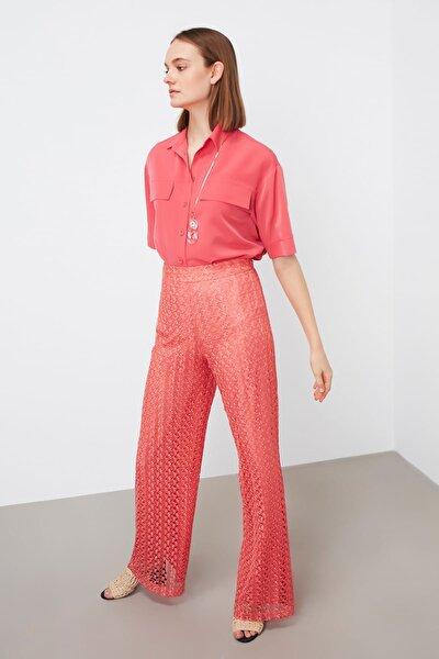 Kadın Mercan Mercan Yüksek Bel Dantel Pantolon IS1190003123108