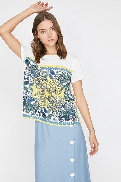 Kadın Sarı Baskili T-Shirt 9YAK13163EK