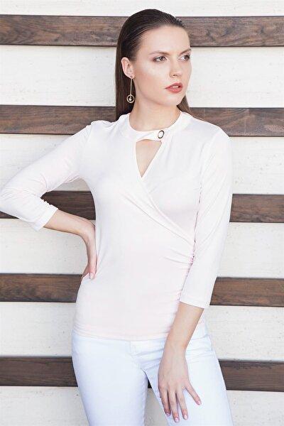 Kadın Pudra Yakası Tokalı Bluz Y18PE500