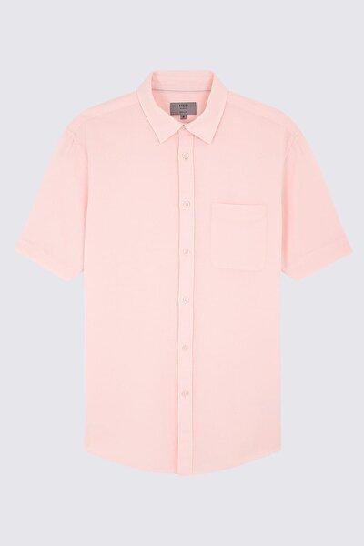 Erkek Pembe Kısa Kollu Keten Karışımlı Gömlek T25004012I