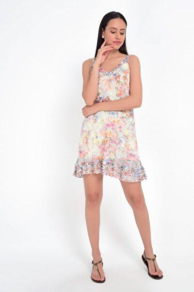 Kadın Çiçek Desenli İp Askılı Elbise HN1811