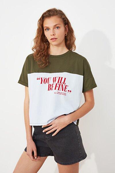 Haki Baskılı Semifitted Örme T-Shirt TWOSS21TS2890