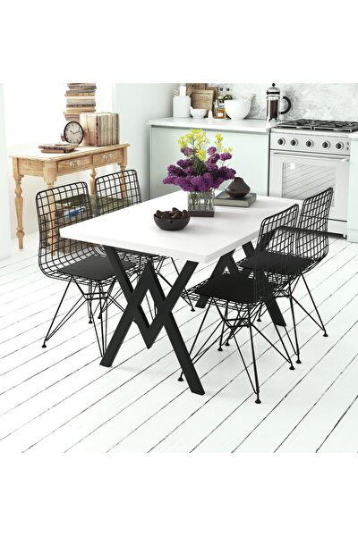 Parla 4 Sandalyeli Mutfak Masası Beyaz