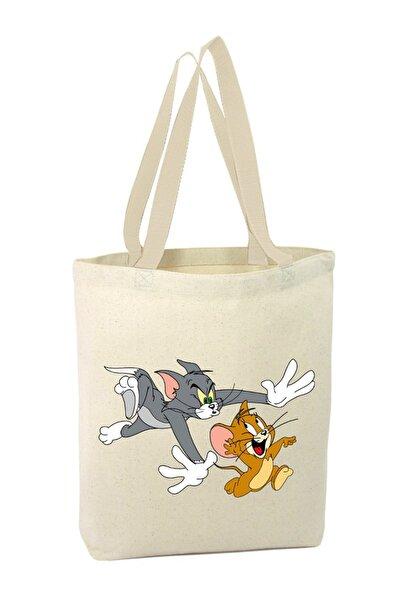 Koşan Tom ve Eğlenceli Jerry Alışveriş Plaj Bez Çanta 3008130