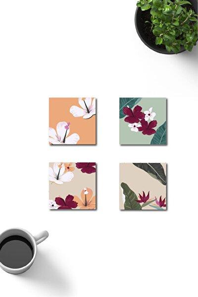 Dekoratif Hawaii Desenli Ahşap Bardak Altlığı 4'lü Set