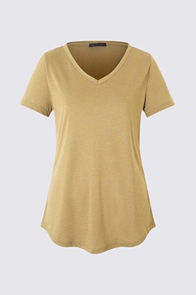 Kadın Yeşil Kısa Kollu V Yaka T-shirt T41001270H