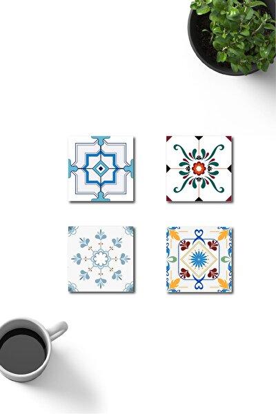 Dekoratif Retro Fayans Desenli Ahşap Bardak Altlığı 4'lü Set