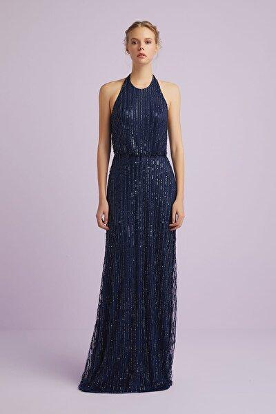 Kadın Lacivert Halter Yaka Payet İşlemeli Abiye Elbise 4XLBRIEF16