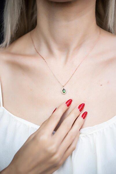 Kadın Damla Model Zümrüt Taşlı Rose Kaplama Gümüş Kolye İZLASLVR00590