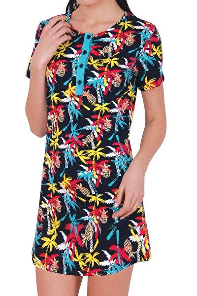 Kadın Desenli Tunik Kısa Kollu Ev Elbisesi