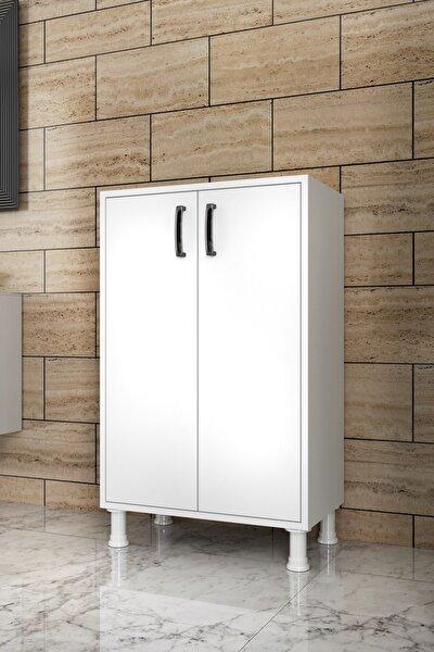 F3 Çok Amaçlı Dolap 2 Kapaklı 3 Raflı Banyo Balkon Mutfak Dolabı Beyaz M8