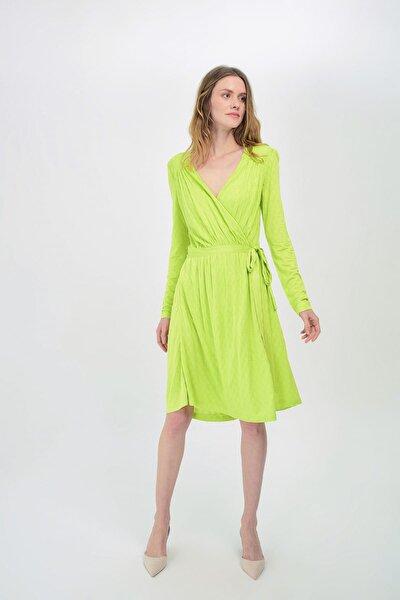 Kadın Yeşil Uzun Kollu Kruvaze Önden Bağlamalı Elbise HN1532