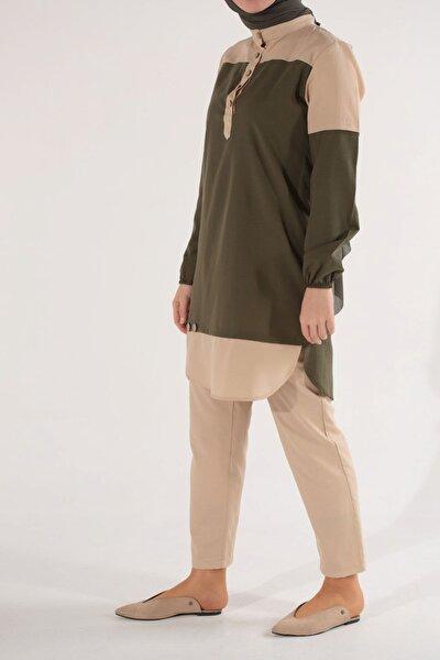Kadın Haki Taş Renk Kombinli Takım HZ80224