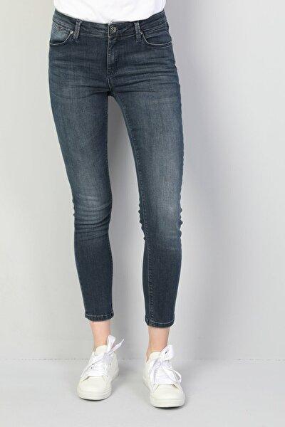 KADIN 759 Lara Orta Bel Dar Paça Super Slim Fit Koyu Mavi Kadın Jean Pantolon CL1045945