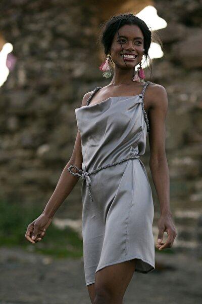 Kadın Gri İpek Mini Elbise BETTY5055