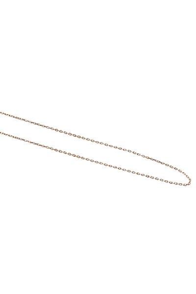 Gümüş Zincir Uzunluk 45 Cm Rose Renginde İnce Bayan Kolye Ucu Zinciri Znc-21