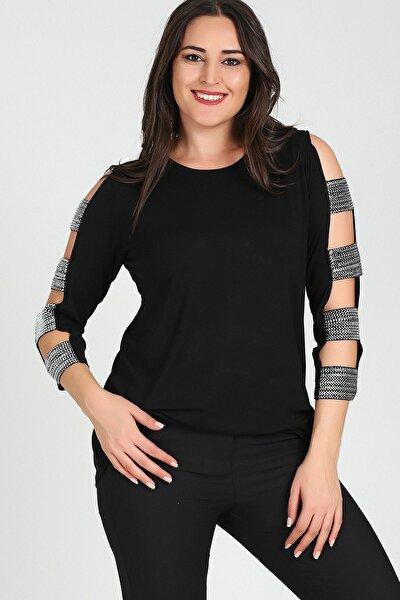 Kadın Siyah Kolları Gümüş Bantlı Bluz M9266