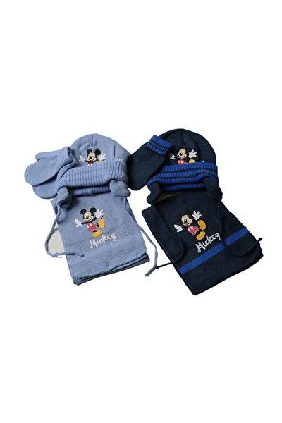 Mickey Mouse Atki Bere Eldiven Seti Cap-0083 Mavi