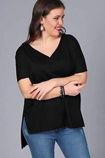 Kadın Siyah V Yaka Arkası Uzun Salaş Bluz M9304