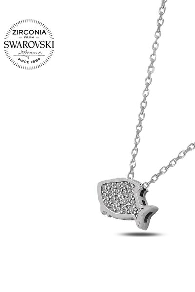 Kadın Swarovski Zirconia Taşlı Balık 925 Ayar Gümüş Kolye N87944