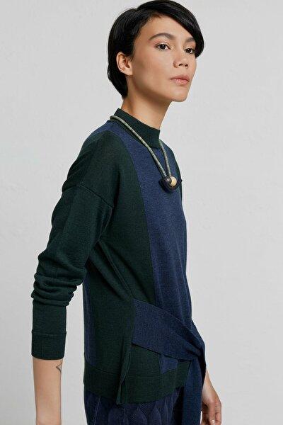 Kadın Lacivert Melanj Kuşak Detaylı Triko Kazak 9KKTR2057X