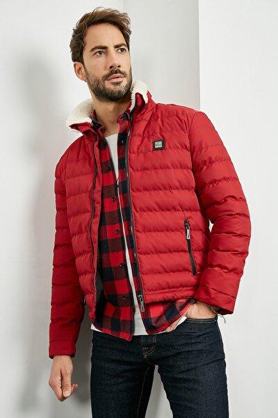 Erkek Kırmızı Slim Fit Yakası Kürklü Mont 20KMO845E101