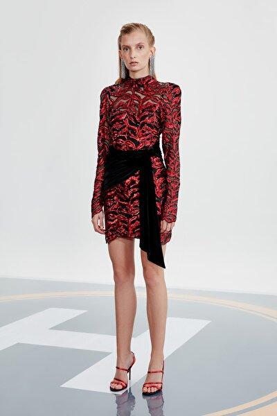 Kırmızı Payetli Elbise TDPAW20EL0009
