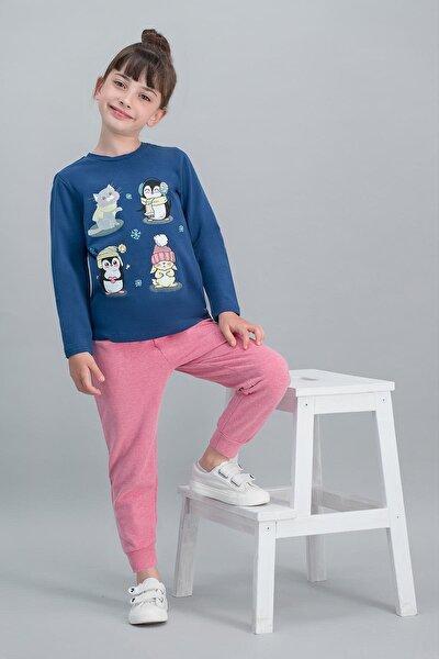 Lacivert Kız Çocuk Pijama Takımı