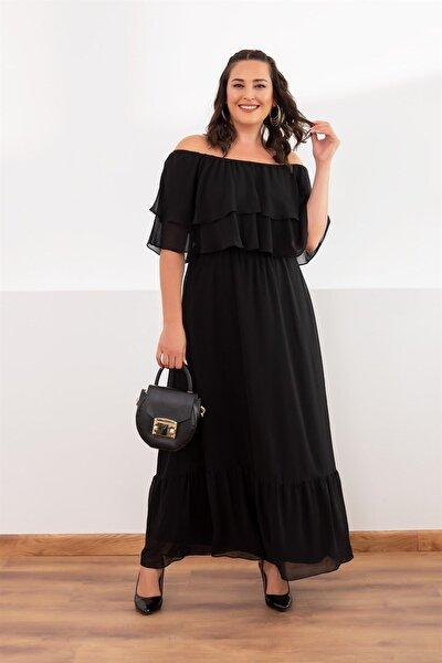 Kadın Siyah Fulan Çift Kat Yaka Elbise fw01964eb