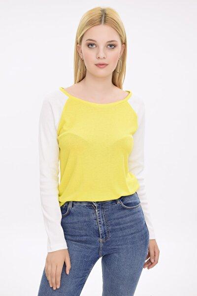 Kadın Sarı Reglan Kollu Ribanalı Bluz HN1966