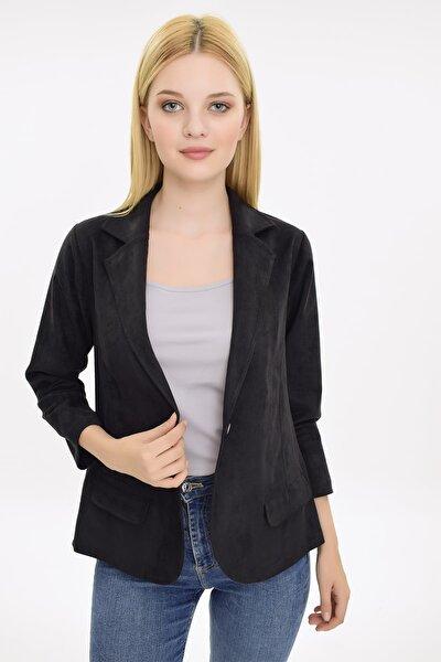 Kadın Siyah Süet Görünümlü Tek Düğmeli Klasik Ceket HN2065