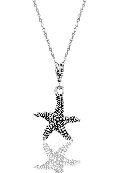 Gümüş Oksitli Deniz Yıldızı Modeli Kolye SGTL10015