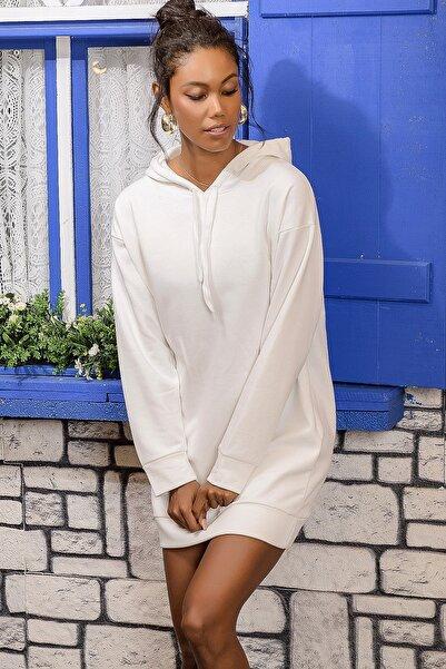 Kadın Ekru Kapüşonlu Sweat Elbise ALC-018-109-TE